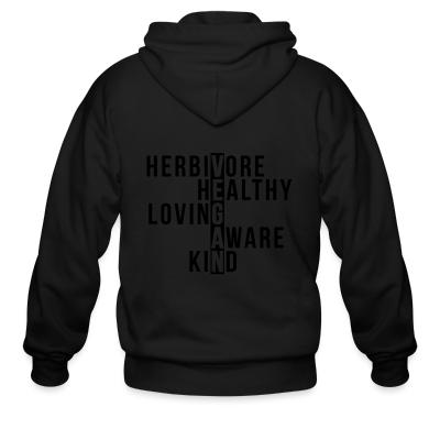 Zip hoodie Herbivore healthy loving aware kind vegan