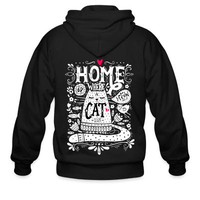 Zip hoodie home where cat is