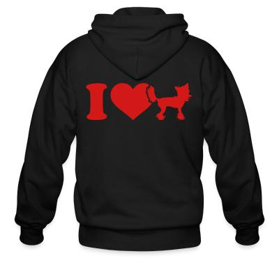 Zip hoodie I love Chinese Crested
