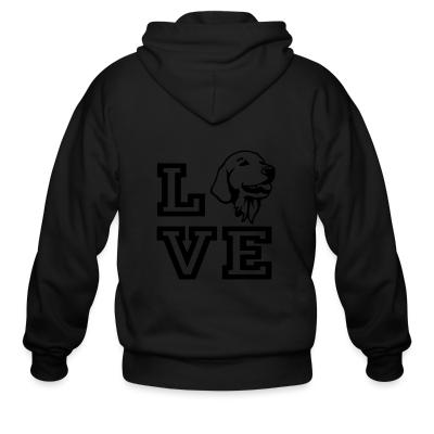 Zip hoodie love Golden Retriever