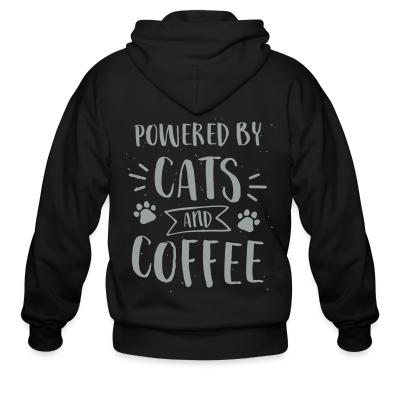 Zip hoodie powered by cats and coffee