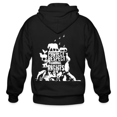 Zip hoodie Protect respect animal rights