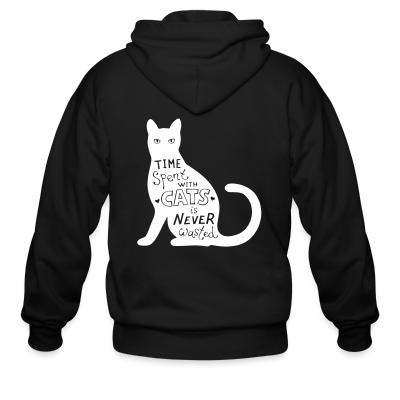 Zip hoodie Time spent with cats is nerver wasted