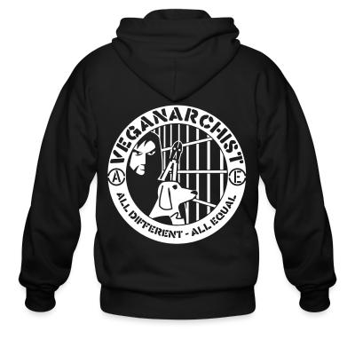 Zip hoodie Veganarchist - all different, all equal