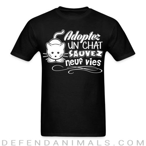 Adopter un chat sauvez neuf vies - Cats Lovers T-shirt
