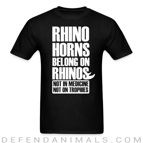 Standard t-shirt (unisex) Rhino horn belong on rhinos not in medcine not on trophies  - Animal rights activism