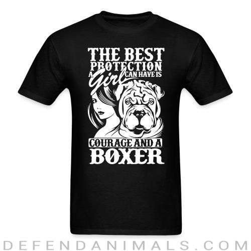 The best protection a girl can have is courage and a pitbull - Dog Breeds T-shirt