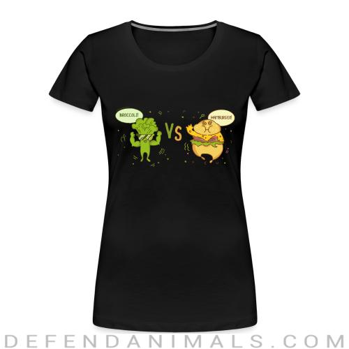 broccoli vs hamburger  - Vegan Women Organic T-shirt