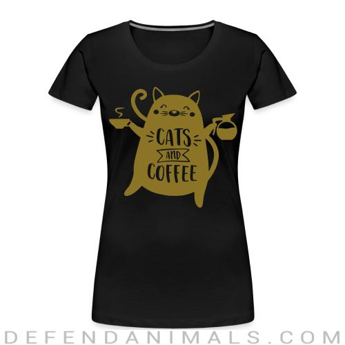 cats and  coffee - Cats Lovers Women Organic T-shirt