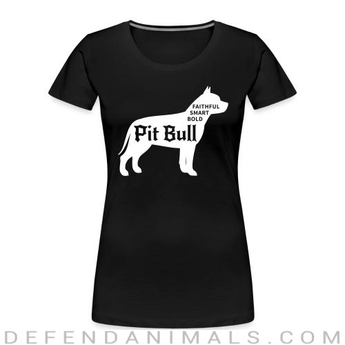 Faithful smart bold pitbull - Dog Breeds Women Organic T-shirt