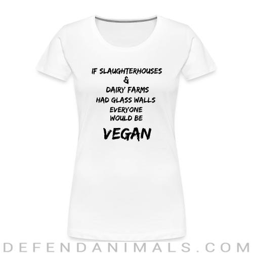If slaughterhouses & dairy farms had glass walls, everyone would be vegan - Animal Rights Activism Women Organic T-shirt
