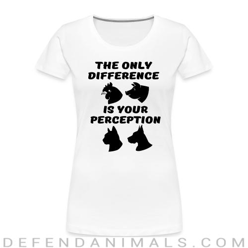 The only difference is your perception - Animal Rights Activism Women Organic T-shirt