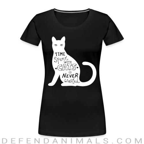 Time spent with cats is nerver wasted  - Cats Lovers Women Organic T-shirt