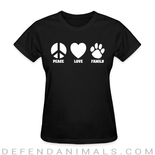 PEACE LOVE FAMILY  - Dogs Lovers Women T-shirt