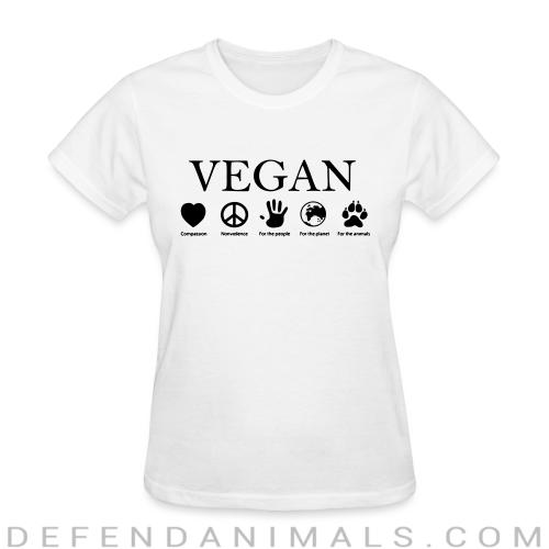 Vegan - compassion, nonviolence, for the people, for the planet, for the animals - Vegan Women T-shirt